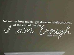Vinyl Wall Decal - I AM ENOUGH, Brene Brown quote | Meylah