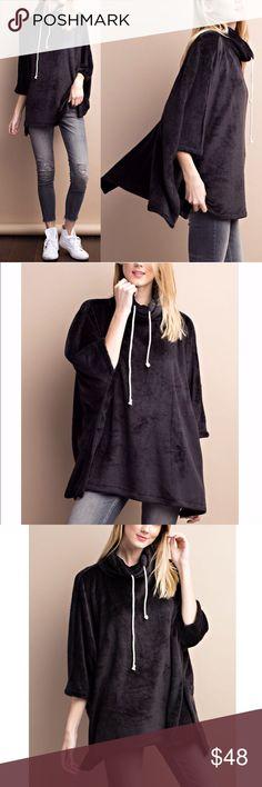 Spotted while shopping on Poshmark: 🆕STASSIE oversized fleece poncho top - BLACK! #poshmark #fashion #shopping #style #Bellanblue #Tops