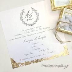 Προσκλητήριο Πολυτελείας Γάμου με Φύλλα Χρυσού, κωδ. w1921