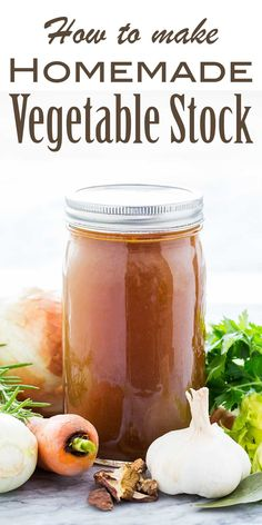 Homemade vegetable stock with carrots, onions, celery, parsley, herbs, and mushrooms. So much better than store-bought! #vegan #vegetablestock