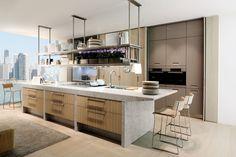 Kitchen Marble Top, Best Kitchen Cabinets, Modern Kitchen Island, New Kitchen, Kitchen Islands, Kitchen Reno, Small White Kitchens, Cool Kitchens, Boffi