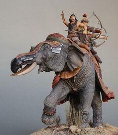 Tamerlane's Battle Elephants- Battle of Angora, 1402 (Sculptor- Polskiy Mihail & Artist- Samsonov Marina) War Elephant, Elephant Design, Prehistoric Animals, Miniature Figurines, Large Animals, Toy Soldiers, Art Model, Military Art, Ancient History