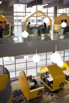 Coventry University Hub - great way of introducing privacy in a public space - Contract Design Office Interior Design, Office Interiors, University Interior Design, Fun Office Design, University Architecture, Office Designs, Interior Decorating, Design Hotel, Restaurant Design
