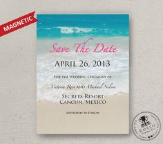 Perfect save the date design for a beach wedding! Plus, it's magnetic, so guests can easily stick it on their fridge as a reminder of your big day to come.