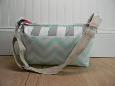 Large Mint Chevron Zipper Topped Bag/Purse by PopOfColorPillows, $38.00