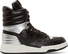 Diet Butcher Slim Skin Black & Silver High-Top Sneakers