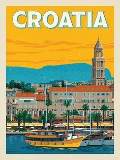 Anderson Design Group – World Travel – Croatia - vintage aesthetic Vintage Travel Posters, Vintage Postcards, Poster City, Photo Vintage, Vintage Ski, French Vintage, Vintage Cars, Tourism Poster, Travel Illustration