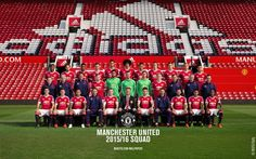 The Manchester United squad pose during the annual team photocall at Old Trafford on September 2015 in Manchester, England. Manchester United Team, Official Manchester United Website, Manchester England, Squad Photos, Team Photos, Man Utd Fc, Man Utd News, Old Trafford, Man United