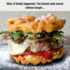 The funnel cake bacon cheese burger