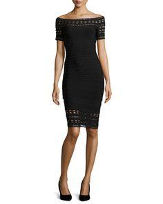 Herve Leger Carmen Embroidery-Cutout Bandage Dress, Black Spring 2015