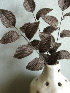Custom Fabric Leaves - Reserved for 3 Brown Houndstooth Branches 6 Brown Houndstooth Mini Branches Houndstooth Fabric, Arts And Crafts, Diy Crafts, Textile Fiber Art, Natural Brown, Muted Colors, Flower Making, Earth Tones, Fabric Flowers