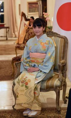 Japan's Princess Mako was dressed to the nines in traditional wear for her meeting with Paraguayan President Horacio Cartes at the government house Mburuvichá Roga in Asuncion.  Photo: NORBERTO DUARTE/AFP/Getty Images  Sep 2016