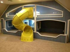 extraordinary ideas for a bunk bed with slide that everyone will love - bunk beds Bunk Bed With Slide, Bunk Beds Built In, Cool Bunk Beds, Bunk Beds With Stairs, Kids Bunk Beds, Bed Slide, Amazing Bunk Beds, Unique Bunk Beds, Awesome Beds