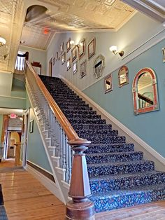 """One of two grand staircases that lead from the lobby to the second floor. This staircase was used in a dramatic scene in the movie """"No Country For Old Men"""". Plaza Hotel Las Vegas, Las Vegas Hotels, Grand Staircase, Stairs, Staircases, Second Floor, New Mexico, Scene, Movie"""