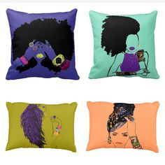 XMAS WISHLIST - love the 2 on the right $30-$40 new pillow sizes and colors! All doll designs are available on pillows! #holidaygiftideas #pardonmyfro #homedecor #afroart #naturalhair