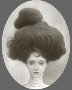 "Travis Louie,Miss Gloria, 2015, acrylic on board, 10 x 8"" oval at William Baczek Fine Arts www.wbfinearts.com ""When Gloria Martin was a little girl, she was told that if she grew her hair into a large shape she would attract a man of means. When she was 17, she molded her coif into a mountain of hair. Unfortunately, she never found a suitable man, and attracted swarms of insects."""