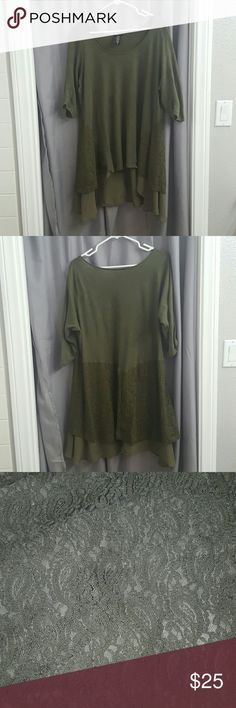 Green chiffon and lace layered hi low top 3/4 sleeves, layered lined and lace hi low top. Very comfy. Shirt is olive green colored. Only worn a few times, in great condition. torrid Tops Blouses