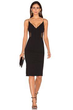 NICHOLAS Crepe Insert Midi Dress in Black | REVOLVE