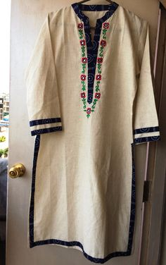 Indian Ethnic Cotton long Kurti, Kurta, Top, Tunic, Indian Dress with embroidery…