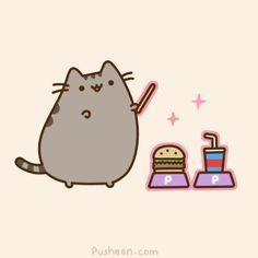 pusheen cat gif | Pusheen Cat Gifs! ♥ and like OMG! get some yourself some pawtastic adorable cat shirts, cat socks, and other cat apparel by tapping the pin!