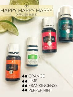 Learn about essential oils and other Young Living Products Lime Essential Oil, Yl Essential Oils, Essential Oil Diffuser Blends, Young Living Essential Oils, Happy Happy Happy, Perfume Fahrenheit, Perfume Invictus, Diffuser Recipes, Young Living Oils