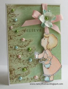 "Sweet Pastel Green Stamped ""Girl with Milk & Cookies for Santa"" Card...by Nancy Thomas."