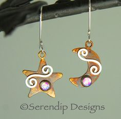 Sterling Silver Moon & Star Earrings with by SerendipDesignsJewel $52  Double click on image for more information or to buy
