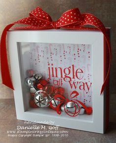 "Jingle all the way Christmas decoration cute but would be cuter in blue and white with snowflakes and the saying ""let it snow"""