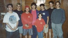 George and Dhani surrounded by the Bones Brigade skateboard team the second time the team paid a visit to the family's Friar Park estate in Henley on Thames George Harrison is wearing pants Mike McGill sent to him and a pink Tony Hawk T-shirt.