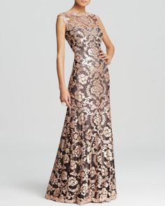 Tadashi Shoji Gown - Sleeveless Sequin Lace | Bloomingdales's