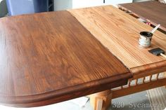 How to refinish and stain a table - sand, wood conditioner, stain, Enviromental Zip-Guard wood enhancer water-based urethane wood finish