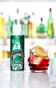For a good time, try the Good Ole Time, a yummy mix with Perrier. 1 ½ oz. gin or vodka 1 tbsp brown sugar 1 tbsp freshly grated nutmeg a squeeze of ½ lemon ½ oz. real grenadine Perrier Lemon wedge and pomegranate seeds to garnish Click through for the recipe.