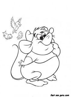 printable disney characters cinderellas mice and birds coloring pages printable coloring pages for kids
