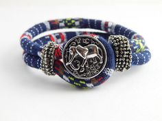 African Bracelet African Fabric Bracelet Elephant Snap bracelets Afrocentric Ethnic jewelry Cute Blue Bracelets Black Owed Store African by TheBlackerTheBerry