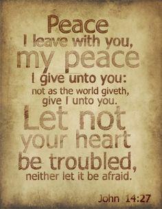 John 14:27  Peace that passes all understanding....