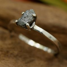 Modern style rough diamond ring in prongs setting with sterling silver high polished band Check more at