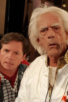 Michael J Fox & Christopher Lloyd Crash 'Jimmy Kimmel Live' On 'Back To The… The Future Movie, Future Love, The Future Is Now, Amblin Entertainment, Doc Brown, Michael J Fox, Bttf, Marty Mcfly, Jimmy Kimmel Live