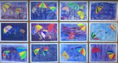 Sateenvarjot syysmyrskyssä, 3 lk, Paperi teipataan reunoista alustaan, laveerataan, piirretään sateenvarjoja erillisille papereille ja leikataan, liimataan sateenvarjot kuivaan työhön, teipit irroitetaan. Fall Arts And Crafts, Diy And Crafts, Weather Art, Autumn Art, Art For Kids, Projects To Try, Collage, Painting, Blue Prints