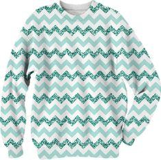 Chevron Glitter Aqua fsweatshirt rom Print All Over Me