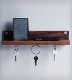 Magnetic Key Ring Holder & Shelf | Simple and classic. This wonderful wall mounted key ring holde... | Drinkware