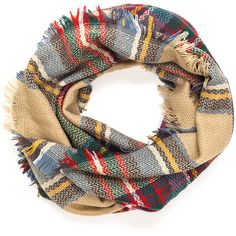 MULTI Plaid News Fringed Infinity Scarf ($7.81) ❤ liked on Polyvore featuring accessories, scarves, multi, loop scarf, print infinity scarf, infinity scarves, fringe infinity scarves and tartan scarves