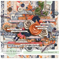 {So Very Blessed @ ScrapbookGraphics} this has some AWESOME elements - the frames, the buttons, the ribbons & especially that LOVE charm