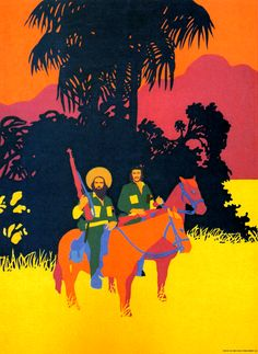 Camilo Cienfuegos and Che Guevara illustration by René Mederos.  c. 1972.