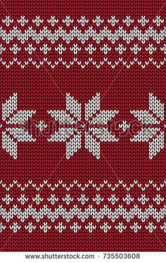 Knitted red jacquard seamless pattern with flowers.