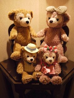 Duffy & Shellie May at Disney Sea hotel room. Each hotel room has a pair of chairs for them to sit on. : )