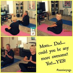 "Yay! Lara's parents are our newest Sunrise Yogis! Here's what they have to say about it: ""We thoroughly enjoy doing our ""Sunrise Yoga""! What we really love about it is we feel like we can actually DO it!! It is an easy, flowing, stretching yoga that is taught with explicit direction and is very easy to follow... even with our eyes closed. And we still find it challenging and we are reaping the benefits of a good workout as well."" Join us here - www.livingbrightside.com/sunriseyoga"