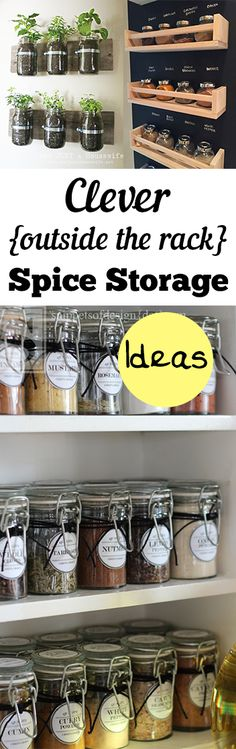 Clever {Outside the Rack} Spice Storage Ideas. Clever ways to store spices that aren't typical spice racks.