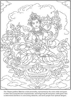 Goddesses Coloring pages: Dover Publications Sample Coloring Book Pages, Printable Coloring Pages, Coloring Sheets, Colorful Drawings, Colorful Pictures, Thai Art, Dover Publications, Illustration, Zentangle