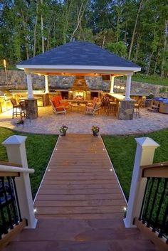 Patio and Outdoor Gazebo Design Ideas - garten - Outdoor Kitchen Ideas Outdoor Gazebos, Outdoor Rooms, Outdoor Decor, Outdoor Kitchens, Outdoor Ideas, Outdoor Cooking, Outdoor Bars, Outdoor Patio Bar, Outdoor Benches