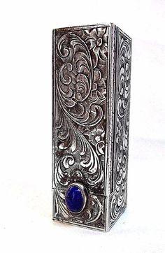Antique 800 Coin SILVER LIPSTICK CASE Lapis Lazuli Stone